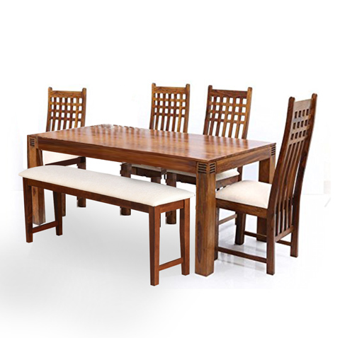 Wooden Dining Table 6 Seater With Bench