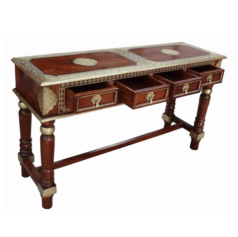 Multi-Purpose Table With 3 Drawer Brass-fit