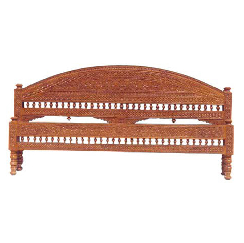 Carved Head Board With Honey Polish For Double Bed