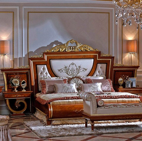 Fully Carved Royal Style Carved Bed Headboard