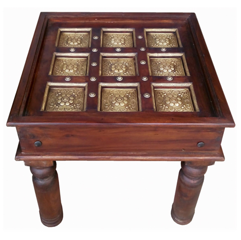 Wooden Square Top Brass Fitting Centre Table