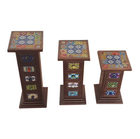 Multi-Purpose Wooden Stand With Coloured Light Blub