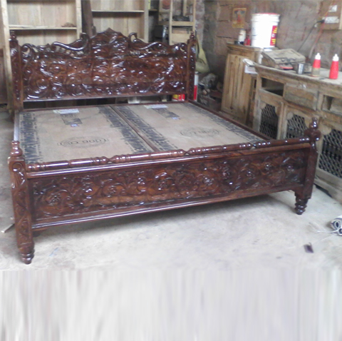 Royal Carving Head Board With Double Bed