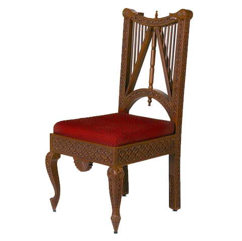 Carved Chair With Triangle Design At Back