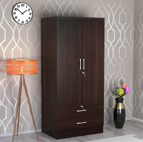 2 Door Wardrobe with 2 Drawers in Wenge Finish