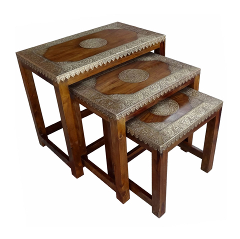Antique Wooden Stool With Brass Cutting Design