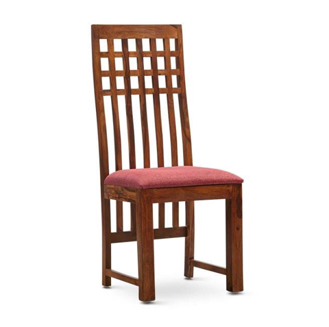 Simple Wooden Chair With Stripe Design At Back And Cushion