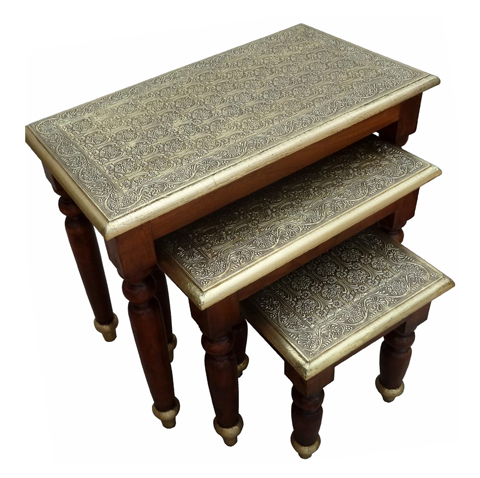 Wooden Stool With Brass-fit , Set Of Three