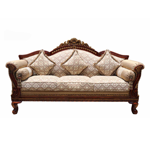 Carving 3 Seater Wooden Sofa