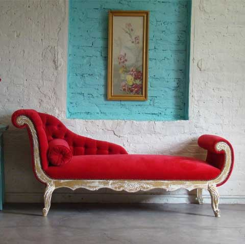 Crocus Chaise Lounger In Red Color