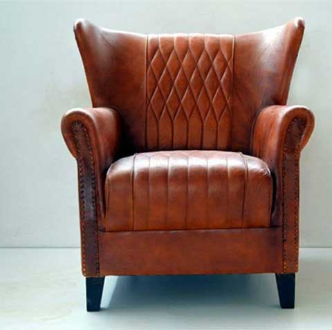Texas 1 Seater Sofa With Leather And Solid Wood