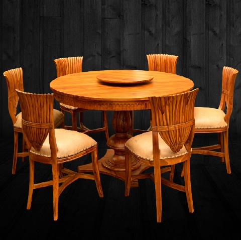 Dining Sets /Round Carving Dining Table Teak Wood
