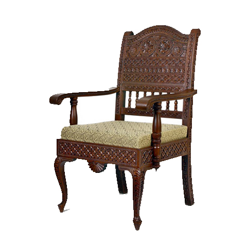 Royal Look Armrest Wooden Carved Chair