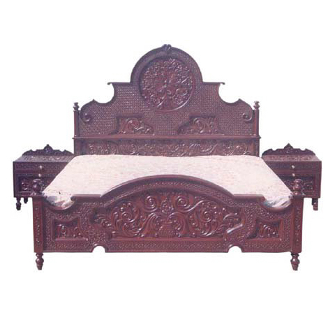 Full Hand Carved Bed Dark Polish And Side Tables