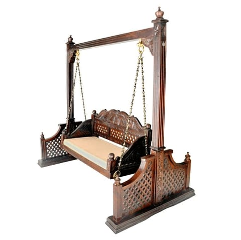 Teak Wood Swing With Stand (Hand Carved)