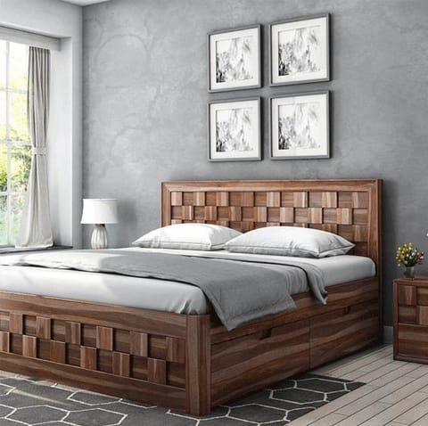 Diamond QUEEN size bed with Storage honey